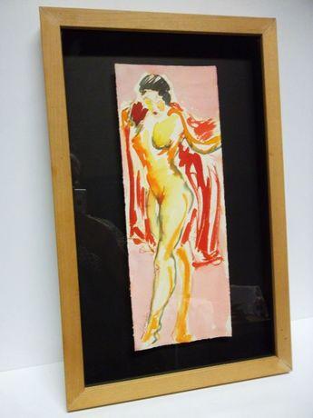 aquarela erótica assinada e com moldura