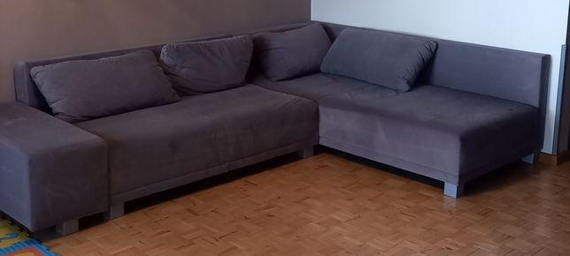 Szara sofa narożnik salon do salonu Agata meble pilne scandi