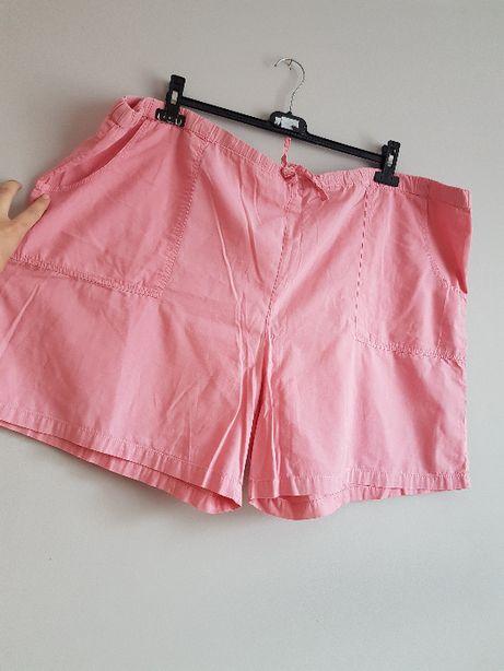 szorty różowe płótno bawełna płócienne duży rozmiar spodenki 58 60