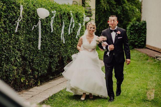 Suknia ślubna koronka koronkowa koronkowe plecy, 36
