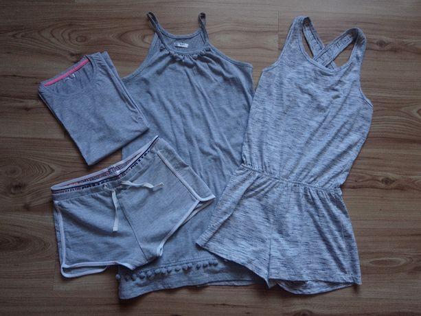 kombinezon, spodekni, sukienka, koszulka, szary zestaw 146cm-152cm