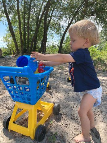 Дитячий іграшковий візок з кошиком