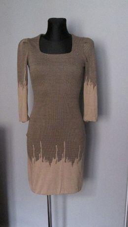 Śliczna sukienka odcienie brązu r. S/M