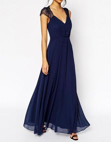 Красивое макси платье. Синие кружевное платье. Длинное платье.