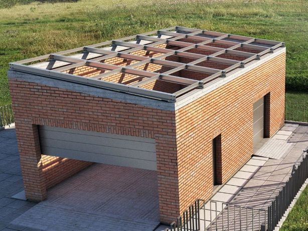 Garaż dach wiata konstrukcja stalowa płyty warstwowe dźwigary belki