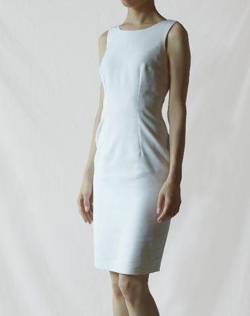 MOHITO prosta ołówkowa elegancka biała dopasowana midi sukienka ZARA #