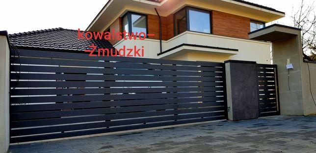 Proszkowo malowana nowoczesna brama przesuwna ogrodzenie i furtka