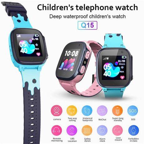 Детские смарт-часы телефон c GPS Alfa Q15 с камерой и фонариком