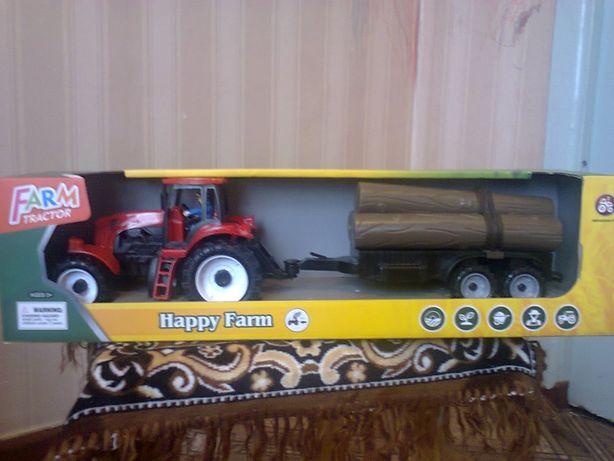 Трактор инерционный с прицепом, 43 см.