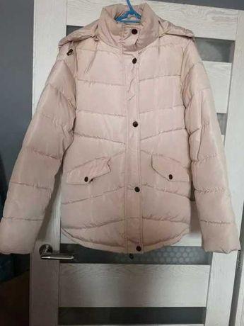 XL Zimowa kurtka puchówka pudrowy róż