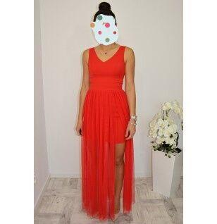 Piękna długa (maxi)czerwona sukienka z tiulem,studniówka, wesele