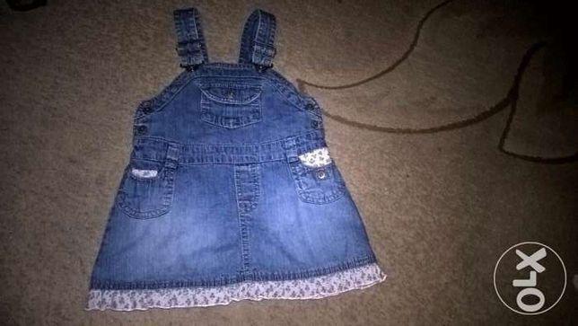H&M sukienka jeans na szelkach 80 cm