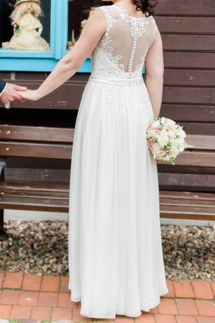 OKAZJA! Piękna, zwiewna, muślinowa suknia ślubna , rustykalna, boho
