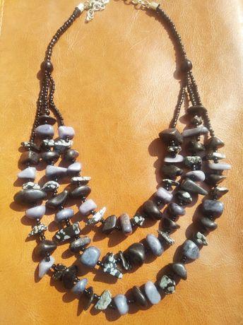 Ожерелье Обсидиан крупные натуральные камни
