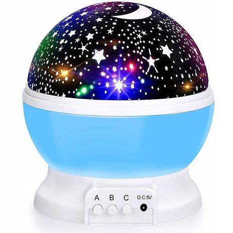 Projektor Gwiazd Lampka Nocna Obrotowa