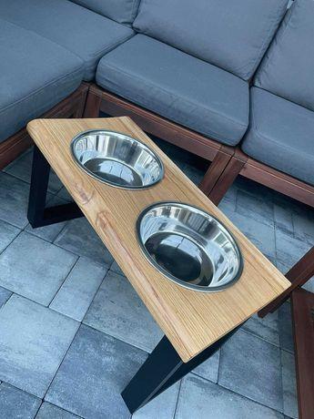 Stojak, na miski dla psa lub kota, drewno dąb LOFT, 1,8L 2,8L szkło