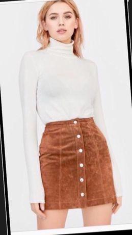 Stradivarius Италия новая кожаная замшевая мини юбка рыжая песочная S