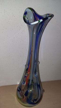 Stary wazon kolorowe szkło,wys.42cm, PRL, starocie, dekoracje, kolekcj