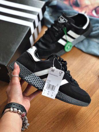 Кроссовки мужские Adidas marathon tech Black! Черные! Наложка! Топ!