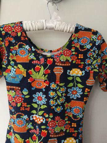 Sukienka we wzory, kolorowa, kwiaty, kwiatki, rozmiar xs/S, bawełniana