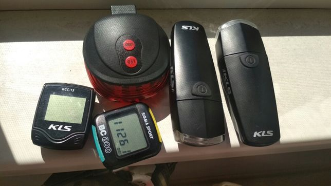 2 велокомпьютера kls,  sigma sport + фонари