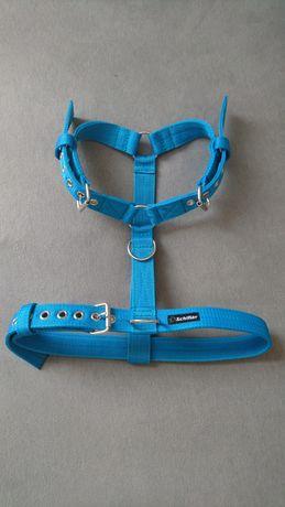 Szelki mocne dla dużego psa niebieskie turkusowe guard