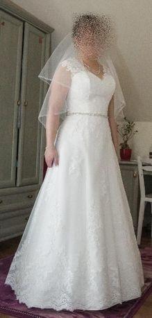 Piękna koronkowa suknia ślubna 40/42. Welon gratis! Nowa cena. Okazja!