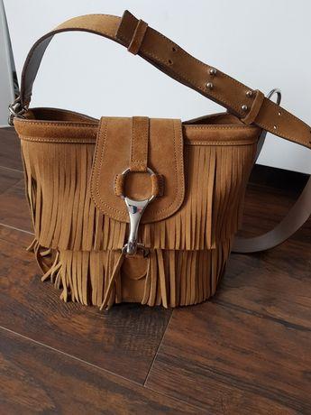 Zamszowa torebka z frędzlami Massimo Dutti bocho camel brąz nowa skóra