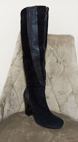 Чоботи чобітки натуральні жіночі замш каблук нові