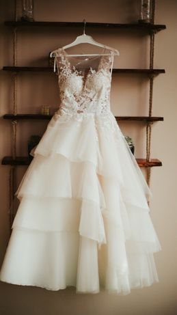 Suknia Ślubna falbany ecru 164 + 8 rozmiar XS/S elizabeth E3714T