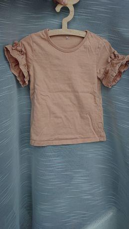 George 92-98 bluzka z ozdobnymi rękawkami beż