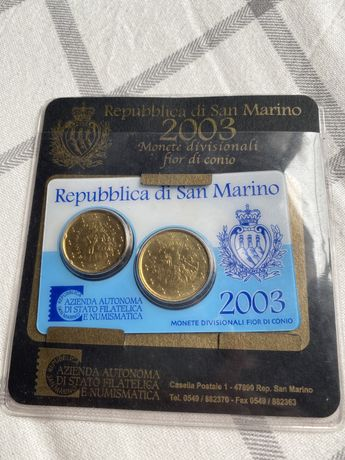 Set de moedas do san marino euro euros republica di sao moeda 2003