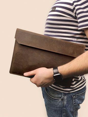 Кожаный чехол для ноутбука MacBook Air и Pro Folder коричневого цвета