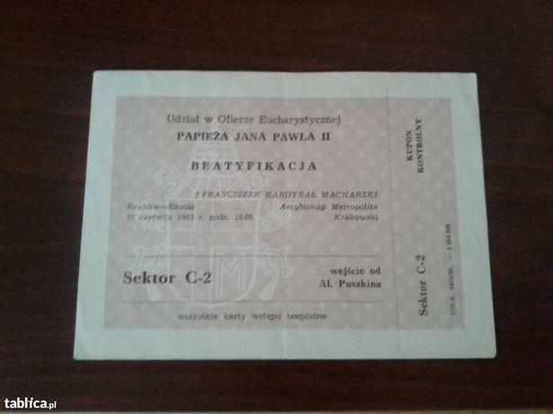 Bilet na mszę św Jana Pawła II Kraków -Błonia 1983 rok