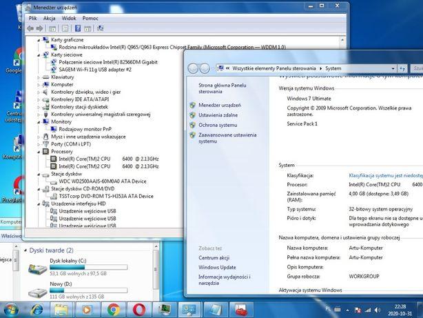 Zestaw komputerowy HP+Monitor+Klawiatura+nowa Myszka+karta Wifi