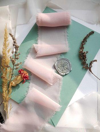 Wstążki w stylu boho 10 sztuk, szyfon, blady róż, 5 × 140 cm