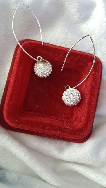 Eleganckie kolczyki shamballa srebrne srebro cyrkonia wiszące