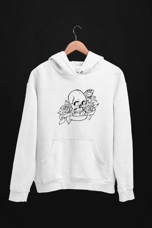Bluza z kapturem Skull and Roses - męskie i damskie- dostępne 4 kolory