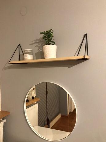 Półka wisząca, drewno, metalowe uchwyty, loft.