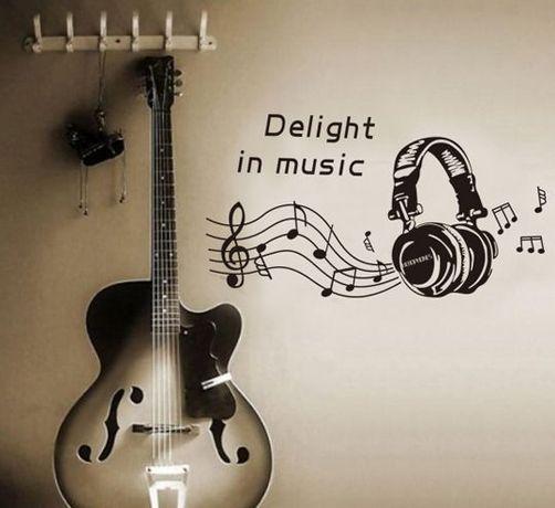 Naklejki ścienne na ścianę SŁUCHAWKI Muzyka Nuty Nutki WS-0077