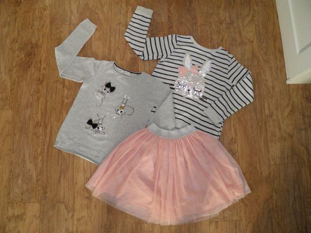 H&M Bluza + Sweter + spódnica roz.134/140
