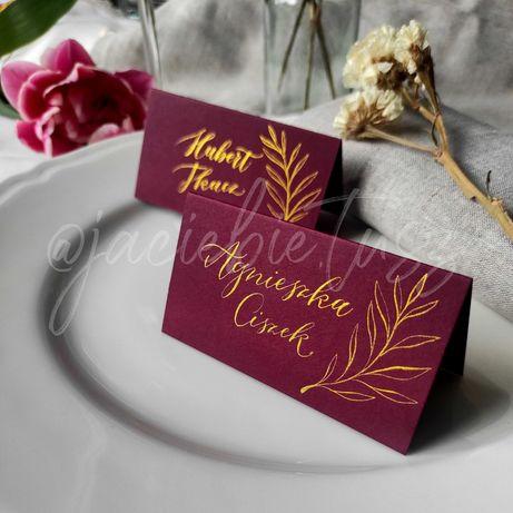 Kaligrafia: winietki weselne, złoto i motyw roślinny, różne kolory