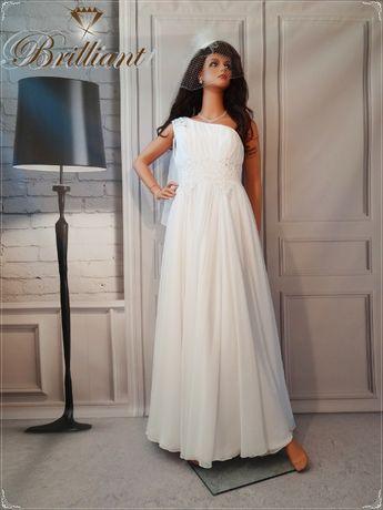 Piękna muślinowa, grecka, zwiewna suknia ślubna