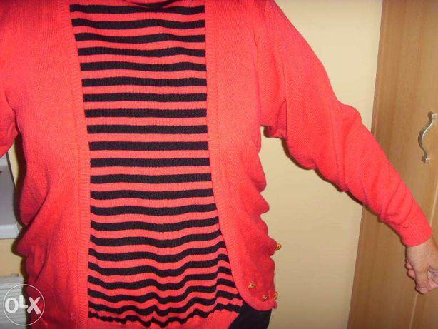 strój, czerwień, 3 części: spódnica, bluzka, kamizelka - na prezent