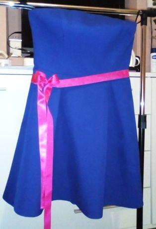 Sukienka r38, kolor chabrowy krótka stan idealny, polski producen A&A