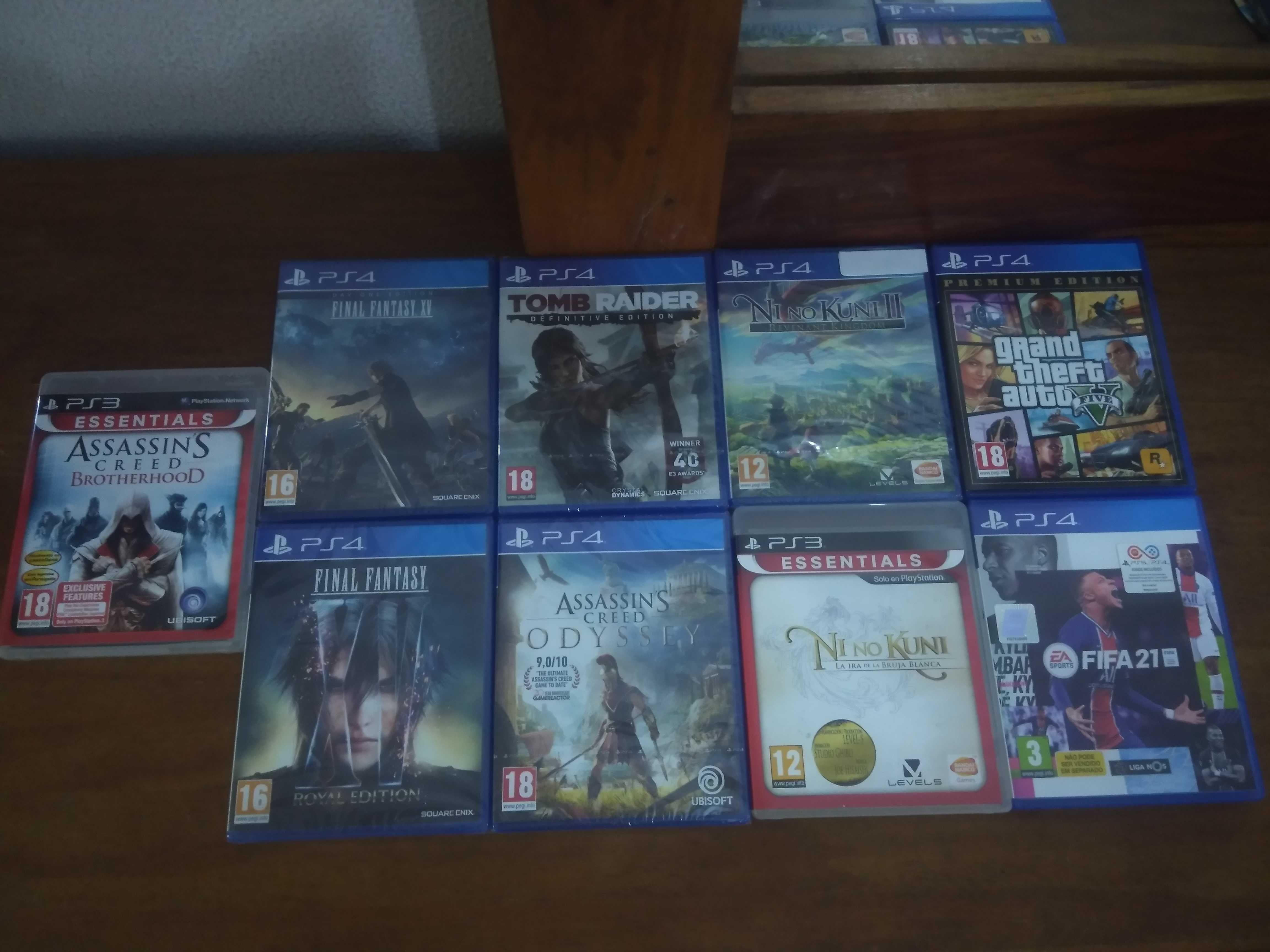 Jogo FIFA 21, GTA V premium edition, Ni no kuni, Assassin's Creed PS4