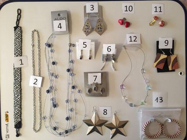 biżuteria kolczyki korale klipsy obroża różna zestaw