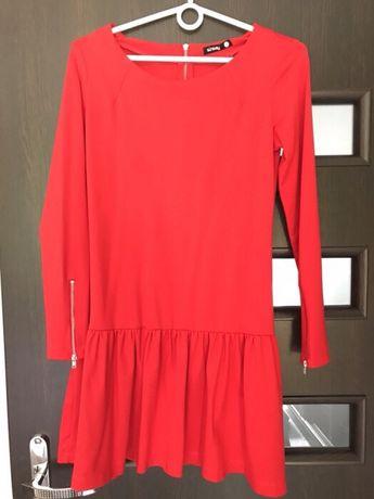Czerwona sukienka z zamkami piekna jak nowa 36 S