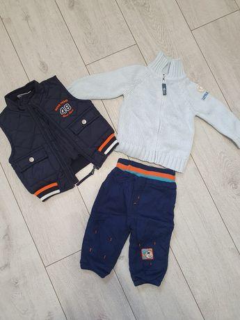 Zestaw 74/80 jesień/zima. Kamizelka, sweterek i spodnie
