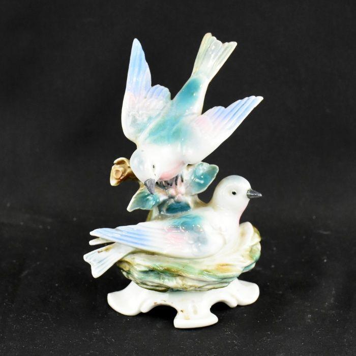 Grupo escultório de pássaros, porcelana alemã PM&M